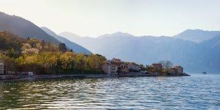 地中海美好的横向 黑山,科托尔湾panoranic看法  免版税库存照片