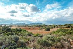 地中海美好的风景的山景 免版税图库摄影