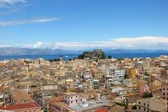 地中海镇的鸟瞰图 库存图片