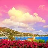 地中海风景意想不到的日落天空 法国海滨 免版税库存照片