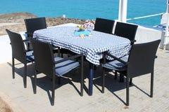 地中海餐馆桌 图库摄影