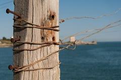 地中海, trebuchet钓鱼特点Apulian海岸 免版税库存图片