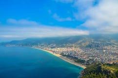 地中海alania kalesi堡垒城市视图,土耳其 图库摄影