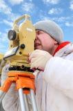 地产测量员工作者 免版税库存图片