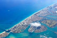 地区海滩迈阿密南视图 免版税库存图片