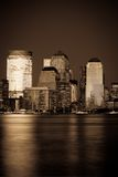 地区财务泽西曼哈顿日落 免版税图库摄影