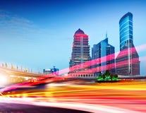 地区财务lujiazui晚上上海 免版税库存图片
