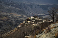地区jhong muktinath尼泊尔村庄 免版税库存图片
