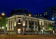 满地可银行大厦在晚上,维多利亚, BC,加拿大 库存照片