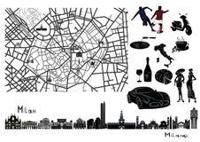 地图、米兰视域和标记  免版税库存图片