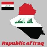"""地图伊拉克的概述和旗子,一水平三色红色,白色和黑,充电与""""God是最巨大的` 皇族释放例证"""