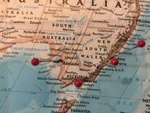 地图别针在澳大利亚 库存图片