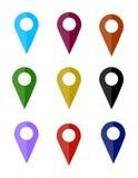 地图别针象,平的设计 免版税库存图片