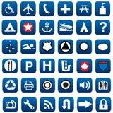 地图和不同的信号标志 免版税库存图片