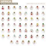 地图和旗子在圈子,非洲国家汇集 库存例证