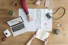 地图旅途旅行目的地照相机冒险概念 库存图片