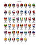 地图标志设置与欧罗巴旗子  库存例证