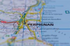 地图的佩皮尼昂 库存图片