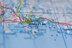 地图的卡尔斯塔德 免版税库存照片