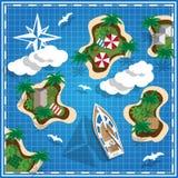 地图的热带海岛 库存照片