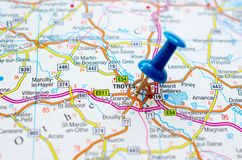 地图的特鲁瓦 库存照片
