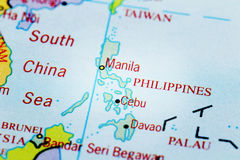 地图的菲律宾与聚光灯作用 库存图片