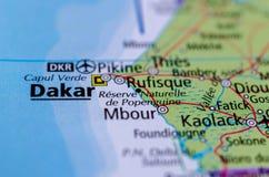 地图的达喀尔 库存图片
