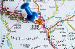 地图的锡比乌 库存图片