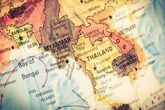 地图缅甸和缅甸, 免版税库存图片