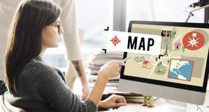 地图航海位置运输GPS路线概念 免版税库存图片