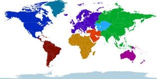 地图集色的大陆 免版税库存照片