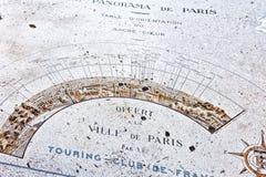 巴黎地图从Montmartre.Paris小山的。 免版税库存照片