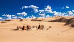 驻地在沙漠 免版税库存图片