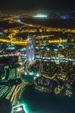 地址旅馆在晚上在街市迪拜地区俯视 免版税库存照片