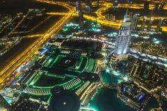 地址旅馆在晚上在街市迪拜地区俯视 库存照片