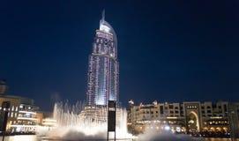 地址旅馆,迪拜在晚上 免版税图库摄影