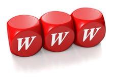 地址求红色万维网的立方 免版税图库摄影