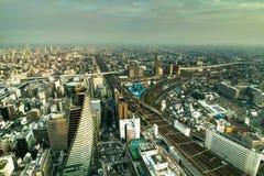 地平线全景视图从内陆的正方形的名古屋大城市 库存照片
