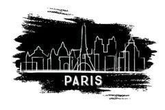 巴黎地平线剪影 手拉的草图 免版税库存图片
