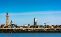 地平线在安特卫普市在比利时 免版税图库摄影