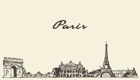 巴黎地平线手拉法国的例证 库存例证