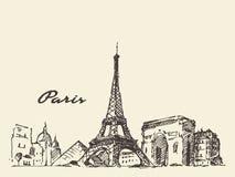巴黎地平线手拉法国的例证 免版税库存图片