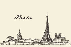 巴黎地平线手拉法国的例证 库存照片