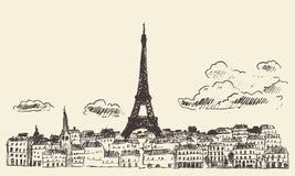 巴黎地平线法国埃菲尔剪影得出的传染媒介 免版税库存照片