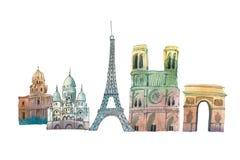 巴黎地平线著名地标城市移动和旅游业waercolor例证 库存图片