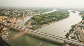 地平线鸟瞰图-城市风景 免版税库存照片