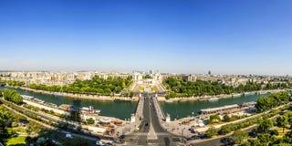 巴黎地平线从la游览埃菲尔的 库存照片