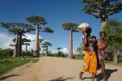 地方人和猴面包树树在穆龙达瓦,马达加斯加 免版税库存图片