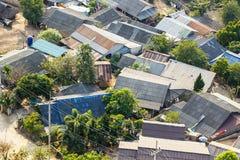 地方城市顶视图秋天时间的,在泰国北部 col 免版税库存图片