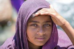 地方女孩在Manali,印度 免版税库存照片